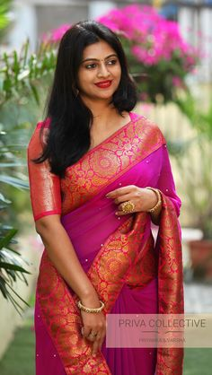 PV 3958 : Purple and pink Price : 4650 RsFlaunt this lovely drape this festive season Unstitched blouse piece : Pink running blouse piece For Order 20 December 2018 Beautiful Girl Indian, Most Beautiful Indian Actress, Beautiful Saree, Beautiful Women, Beautiful Figure, Saree Blouse Patterns, Sari Blouse Designs, Aunty In Saree, Saree Models