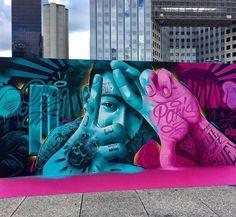Street Art by MrDheo in Paris Murals Street Art, Graffiti Wall Art, Street Art Graffiti, Mural Art, Graffiti Artists, Graffiti Lettering, Banksy, Urban Street Art, 3d Street Art