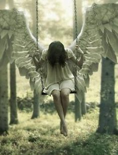 """Open) I had snuck away from the humans, into somewhere secret. I needed to free my wings, and this was the perfect place. I close my eyes and my wings start appearing. I have a grin on my face, and take to the skies. """"I'm free!"""" I exclaim, laughing. I land, and sit on a swing I had put up. """"Carmen Grace?"""""""