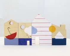 Wooden toy blocks for toddlers, eco friendly little houses toy.