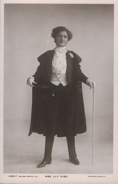 Interesting... she looks like a magician. Apparently this is Lily Elsie, and Edwardian-era actress.