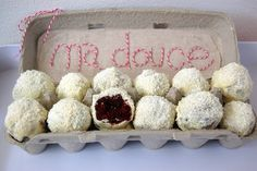 Red Velvet Cake balls served in an egg carton.. hummm i see this happening soon like tonight