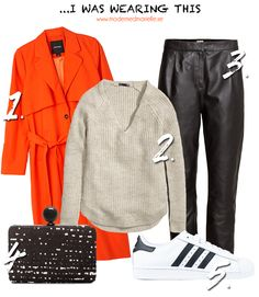 sporty chic 1. Trenchcoat – Monki // 2. Knitted sweater – H&M // 3. Leather pants – H&M // 4. Bag – Zara // 5. Sneakers – Adidas