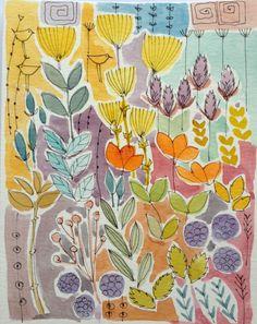 Original Watercolour Painting - Orange Flowers - Signed Annabel Burton