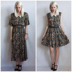 Refashion Co-op: Paisley Pleated 80's Dress Makeover