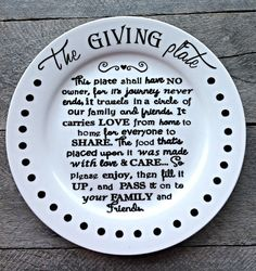 The Giving Plate/ Neighbor Gift Plate / Family Gift Plate / Leftover Plate / All Occasion Gift