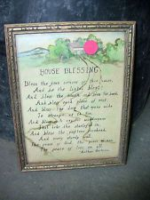 "Vintage Framed Print Hand-Illustrated and Written ""House Blessing"" Poem Blessing Poem, House Blessing, Hand Illustration, Vintage Frames, Naive, Unique Vintage, Blessed, Diy Projects, Framed Prints"