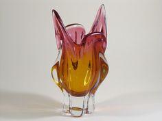 Murano Glas Vase Design Zipfelvase Höhe 24,5 cm 1,8 kg Glasvase rosa orange