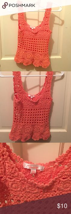 """""""Maybe, possibly"""" top! This is a vibrant pink crochet top that was purchased from Hope's. It has only been worn once. It is """"one size"""". Very cute! This would be insanely cute with white jeans and sandals! It's a very versatile top that would transition into fall as well. Tops Blouses"""