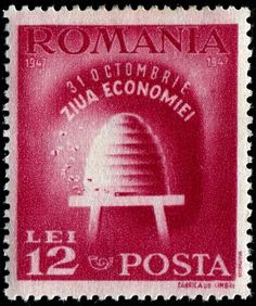 Bee stamp of a hive from Romania 1947. Bees.