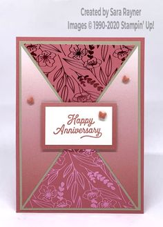 Anniversary card using Oh So Ombre DSP (SAB freebie), Love You Always Specialty DSP and Many Mates stamp set. All from Stampin' Up! Full tutorial provided. Shop for supplies. 50th Anniversary Cards, Homemade Anniversary Cards, Purple Cards, Fun Fold Cards, Stamping Up Cards, Mothers Day Cards, Card Sketches, Paper Cards, Flower Cards