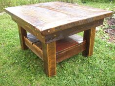 Items similar to Reclaimed Barn wood Squarish Coffee Table with Shelf and tiger eye inlays on Etsy