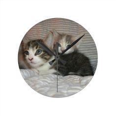 Kitties Chilaxin Round Wall Clocks! #cute #kitten #zazzle #store #cat #meow #customize #gift #present http://www.zazzle.com/conquestkitty*