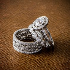 An rare and beautiful collection of stunning Vintage and Antique Engagement Rings. Estate Diamond Jewelry Collection. Antique Wedding Rings, Antique Engagement Rings, Engagement Jewelry, Antique Rings, Or Antique, Antique Jewelry, Wedding Engagement, Diamond Jewelry, Diamond Rings