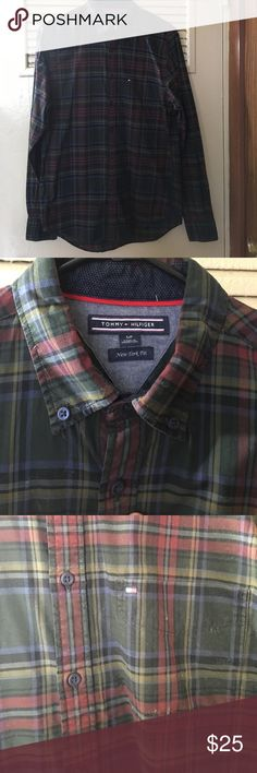 Hunter green flannel Tommy Hilfger Button Down Soft flannel plaid Button Down modern fit  colors include green, red, yellow, and blue. Tommy Hilfiger Shirts Casual Button Down Shirts