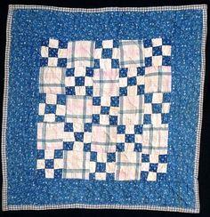 """Antique 1900 Blue & White Nine Patch Doll Quilt, 15 x 15""""."""