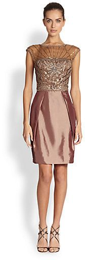 Sue Wong Illusion Yoke Beaded Cocktail Dress on shopstyle.com