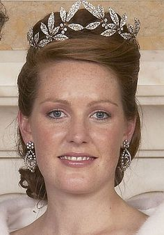 Lady Tamara Grosvenor, eldest daughter of the Duke of Westminster, wearing the Westminster Myrtle Leaf Tiara, United Kingdom (1906; made by Fabergé; diamonds).