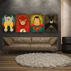 4 piece Oil Painting Canvas Set - Superhero (Thor, The Flash, Superman, Batman) Modern Art Wall Art (No Frame)
