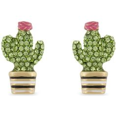KATE SPADE NEW YORK Scenic Route cactus stud earrings (3.110 RUB) ❤ liked on Polyvore featuring jewelry, earrings, accessories, kate spade, kate spade earrings, earring jewelry, post back earrings and post earrings