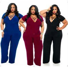 bb4c578ce1fb Deep v-neck straight even the body pants plus-size (Black