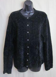 TALBOTS Women's Black Sparkle Thread Long Sleeve Cardigan Sweater L Large  #Talbots #Cardigan
