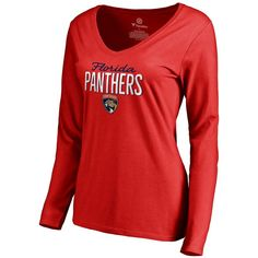 Florida Panthers Women's Nostalgia Slim Fit Long Sleeve T-Shirt - Red