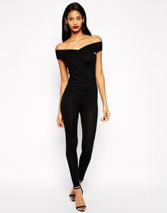 Image 1 of ASOS Bodyfit Jumpsuit With Wrap Bardot