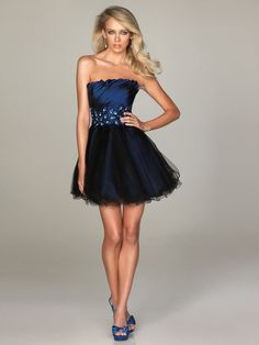 Short Sequin Waist Strapless Navy Homecoming Dress with Empire Waistline