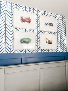 Toddler Boy Room with Wallpaper Nursery Decor Boy, Project Nursery, Nursery Ideas, Feather Wallpaper, Room Wallpaper, Serena And Lily Wallpaper, Big Boy Bedrooms, Boy Rooms, Herringbone Wallpaper