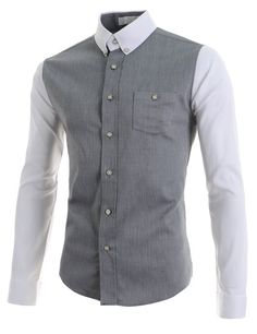 2069edfa8c51a3 (AL562) Mens Slim Fit Stretchy Collar 1 Chest Pocket 7 Button Long Sleeve  Shirts GRAY Chest 42(Tag size XL)