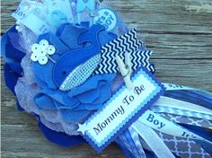 Whale Corsage Nautical Baby Shower Corsage by BloomingParty, $26.00