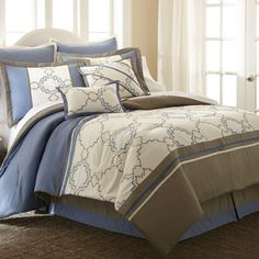 Talia Beige/ Blue 8-piece Embroidered Comforter Set - Overstock™ Shopping - Great Deals on Comforter Sets