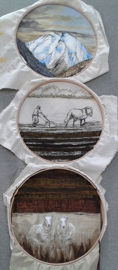 my final piece, a landscape using sewing, felting, and oil paint in 3 embroidery hoops.