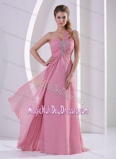 Rose Pink One Shoulder Floor-length Valentine Holiday Dresses in Dieterich