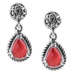 Carolyn Pollack Signature Sterling Silver CRIMSON Coral Doublet Dangle Earrings #CarolynPollack