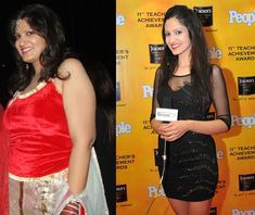 Manasvi Jaitly before her weight loss and (right) after