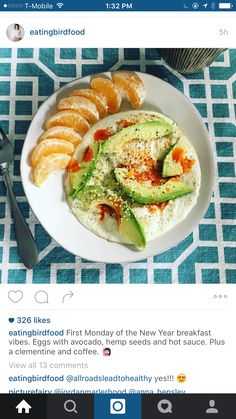 Clementine egg hot sauce avocado