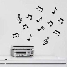 Adesivo de Parede - Kit Notas Musicais - 006ms-P