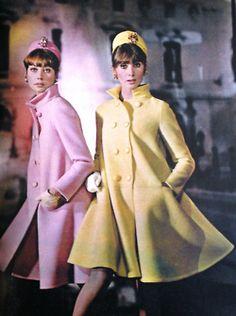 Retro Fashion Jean Patou, 1966 fashion style color photo print ad models magazine designer yellow pink knee coats jackets hat: - Model by:Jean Patou. Moda Retro, Moda Vintage, Retro Vintage, Vintage Style, Retro Style, Fashion Mode, Mod Fashion, Vintage Fashion, Fashion Brands