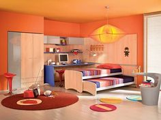 Children Trundle Beds For Kids Room Design: Contemporary Colorful Kids Bedroom With A Vivacious Trundle Bed Kids Bedroom Designs, Bunk Bed Designs, Kids Room Design, Bedroom Ideas, Modern Kids Furniture, Colorful Furniture, Furniture Ideas, Pull Out Bed, Kid Beds