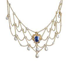 Antique Untreated Burma Sapphire Bib Necklace, 6.07 Carats