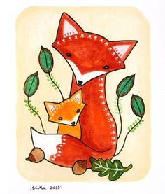 Nursery Art Print Fox Illustration Print Woodland Nursey Wall Art Mom Baby Fox Rustic Tribal Home Wall Decor Orange Yellow Green Cute Fox by mikaart on Etsy https://www.etsy.com/listing/261058087/nursery-art-print-fox-illustration-print