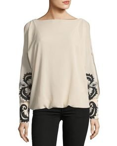 70fef805805d39 Shop Embellished-Sleeve Blouse from Brandon Thomas at Neiman Marcus Last  Call