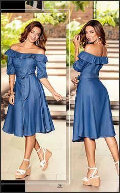 Frock Fashion, Denim Fashion, Fashion Dresses, Jean Dress Outfits, Jeans Dress, Simple Dresses, Pretty Dresses, Casual Dresses, African Traditional Dresses