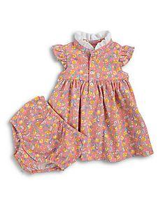 Ralph Lauren Infant's Floral Mesh Dress & Bloomers Set