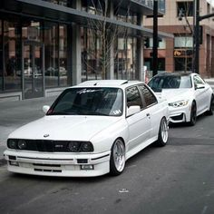 BMW E30 M3 and F82 M4 white