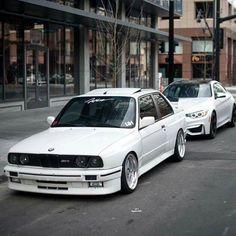 BMW E30 M3 and F82 M4 white