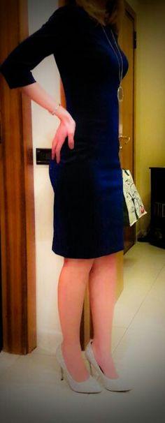 Elegant dress,blue and black, silver shoes