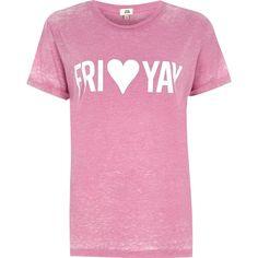 River Island Petite pink 'fri-yay' glitter slogan t-shirt (€35) ❤ liked on Polyvore featuring tops, t-shirts, pink, print t-shirts / tanks, t shirts / tanks, women, slogan t shirts, petite tops, short t shirt and pink t shirt